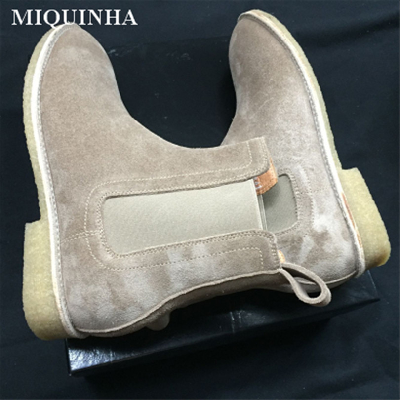 Round Toe Low Heel Men Ankle Boots Luxury Brand Super Star Runway Shoes Short Booties Chelsea Boots Big Size Bottes Pour Hommes