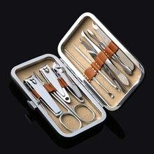 1 Набор Пинцет из нержавеющей стали 10 в 1 ножницы для стрижки ногтей Пинцет Нож для маникюра Резак для маникюра педикюр инструменты для маникюра