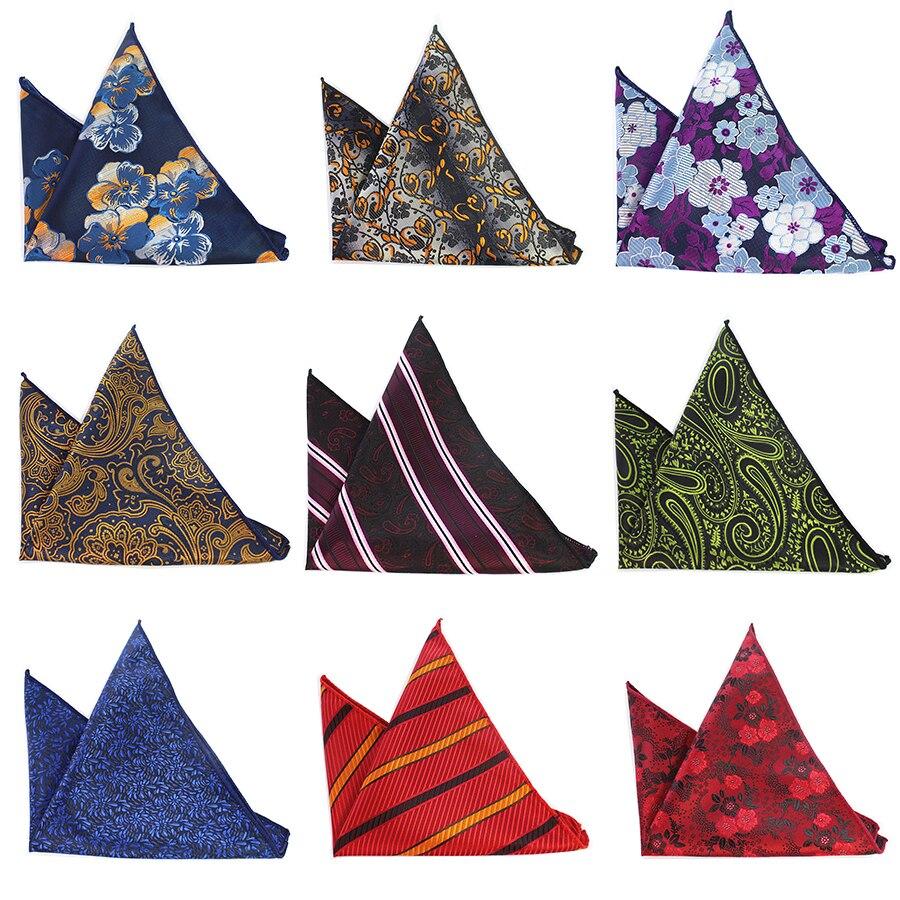 Ricnais Men's Paisley Handkerchief Classic Floral Pocket Square Business Chest Towel Plaid Hanky Gentlemen Suit Wedding