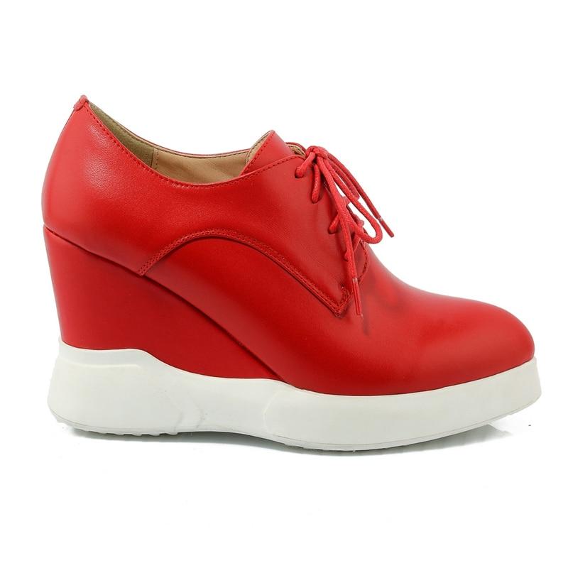 Alto Zapatos Calidad Nuevo 2019 Moda púrpura De rojo Vaca Cuñas Casuales Genuino Alta Dropship Encaje Tacón Negro Mujeres Cuero Las vqAx6q