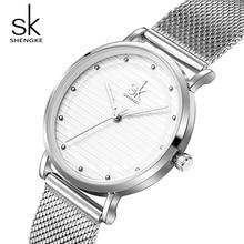 Shengke Marca Relojes Mujeres de Lujo de Plata de Acero Inoxidable Reloj de Pulsera Señoras Reloj de Cuarzo Relojes Relogio Feminino 2018 SK # K0049