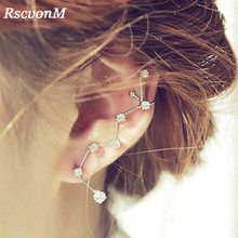 2018 Fashion Elegan Zircon Cystal Baru Fashion Elegan Vintage Punk Gothic Kristal Berlian Imitasi Telinga Manset Wrap Stud Anting-Anting Klip(China)