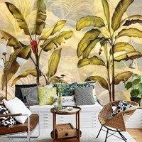 Estilo del sudeste Asiático de la vendimia wallpaper dormitorio balcón del Restaurante de alta calidad de encargo mural fondos de pantalla de hoja de plátano