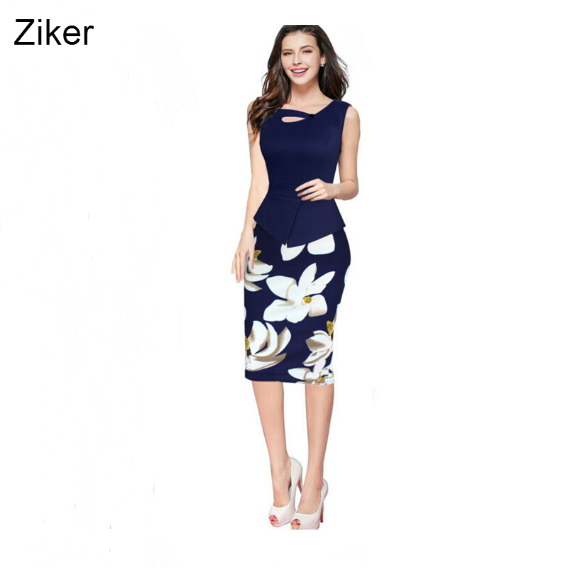 Buy Cheap Ziker Plus Size S-5XL New Fashion Summer Print Dresses Women Bodycon Pencil Slim Dress Knee Length Patchwork Casual Work Dress
