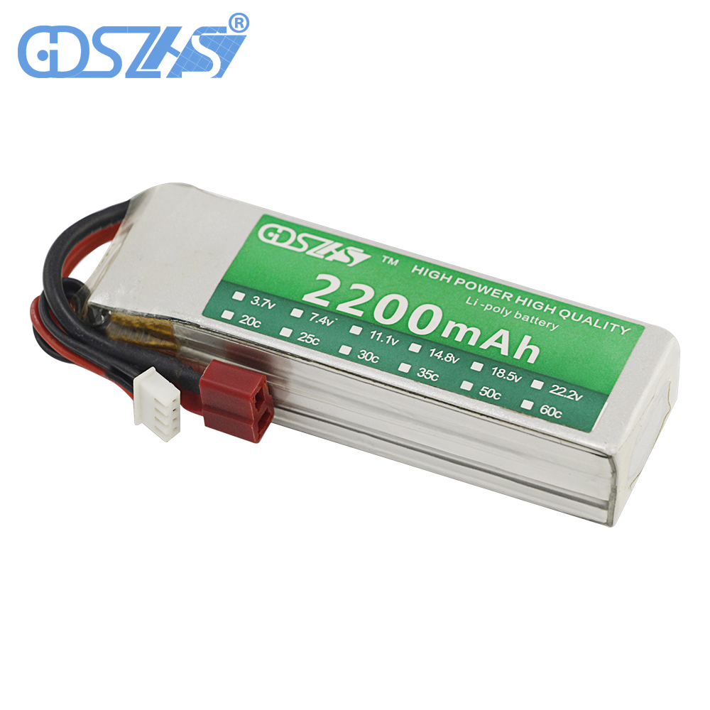 GDSZHS Rechargeable 3S Lipo Battery 11.1V 2200mAh 25C-30C For FPV RC Helicopter Car Boat Drone Quadcopter gdszhs b3 20w 2s 3s lipo battery compact for rc model 11 1v 7 4v 1 6a lipo battery 2s 3s charger