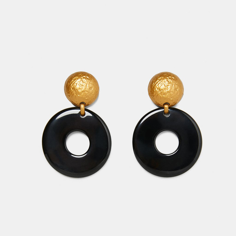 New-Fashion-Large-Round-Resin-Drop-Earring-For-Women-Bohemian-Black-Acrylic-Statement-Dangle-Earring-Vintage (1)