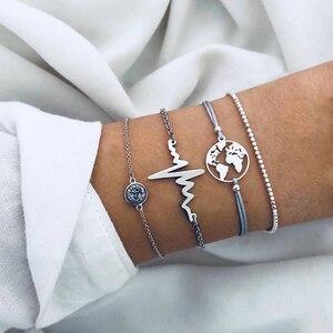 Bohemian Charm Bracelets Bangles For Women Fashion Silver Color Chain Heart Earth Map Women Gifts Jewelry Wholesale