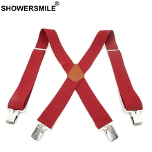 SHOWERSMILE Suspenders Men Braces For Trousers Genuine Leather Male Suspender Shirt 120cm 5cm Red Black Yellow Green Beige Gray
