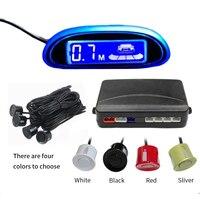 Blue Screen Car Parking Sensors Parktronics LED Display Reverse Backup Radar Monitor Detector System With 4 Sensor System