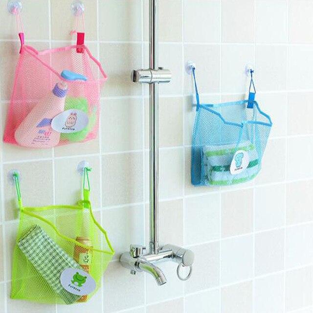 Kawaii Colorful Child Bath Toy Storage Net Bag Suction Baskets Kids Baby Bath Toys Bag Bathroom Mesh Bag Toys For Children