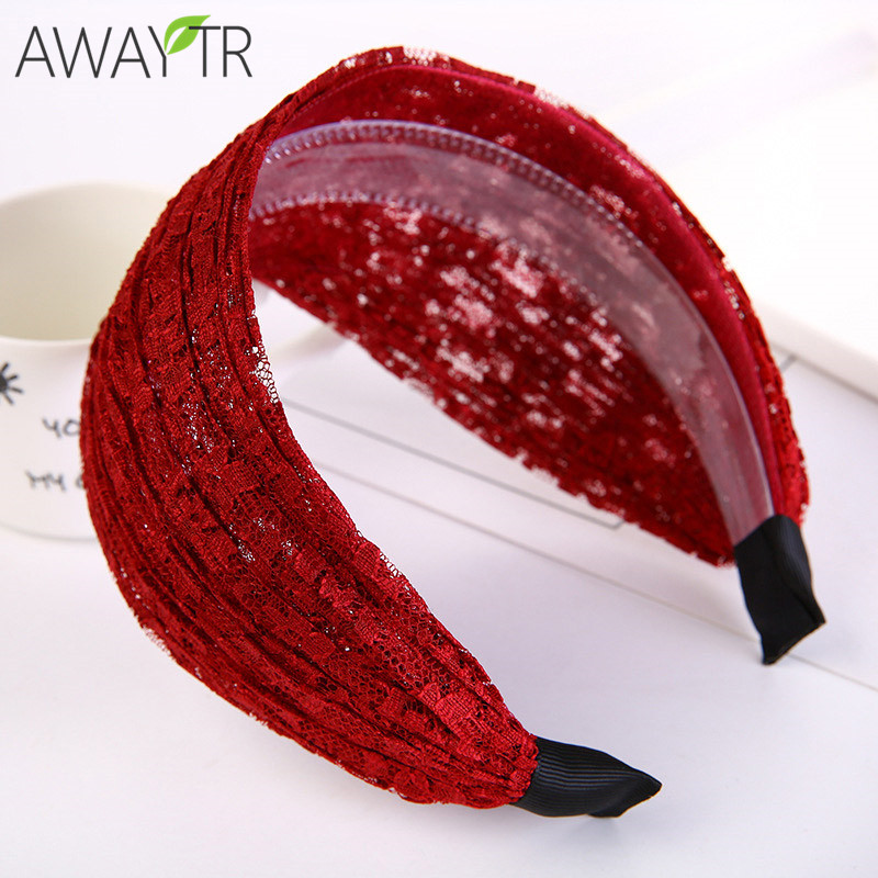 2019 Women Wide Hair Bands Girl Wide Headband Sexy Lace Hollow Elastic Hair Band Boutique Hair Hoops For Jewelry Tiara Headwear