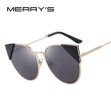 MERRY'S Women Cat Eye Sunglasses Brand Designer Retro Pierced Female Sun Glasses Classic Shades S'8070