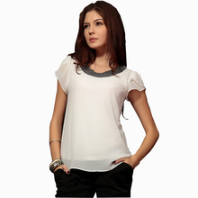 New 2020 Tops Sleeve Shirt Fashion Blusas Femininas Blouse Beading Elegant Blouse Brief Chiffon Blouse Shirt