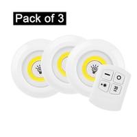 Ultra Bright 150 Lumen COB LED Puck Luzes com Controle Remoto Sob A Iluminação Do Armário Da Bateria Sem Fio Operado (Pacote de 3)|Luzes para Armários| |  -
