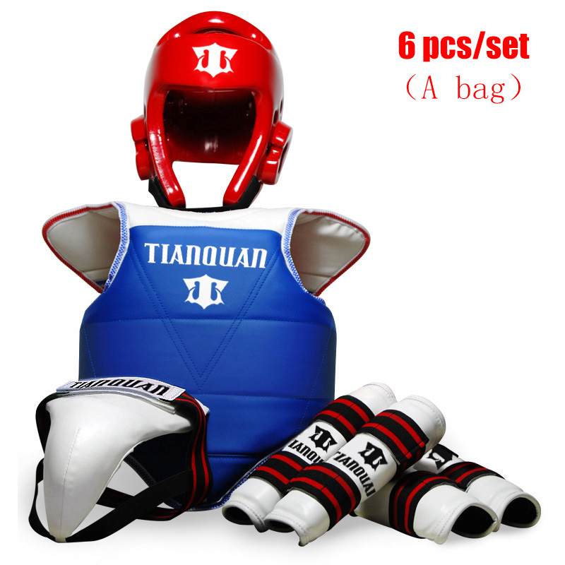 6 pcs/ensemble Taekwondo Protecteur WTF ITF Épaissir Casque Poitrine Bras Shin Garde Joelheira Équipement Pour Le Karaté Judo Wesing Kungfu