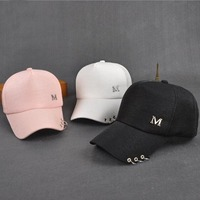 2017 New Metal Letter M Lron Ring Pink Classic 5 Panel Women Baseball Cap Ladies Youth Snapback High Quality Baseball Cap