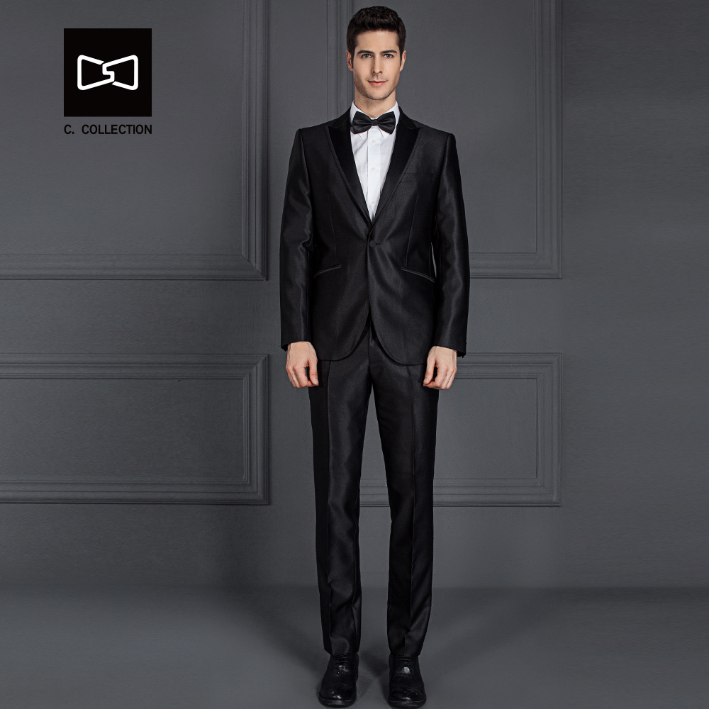 Tailor-made Men Black Shinning Suit Slim fit Wedding Suit Men Tuxedo 2  Pieces Custom Suit(Jacket+Pants) No. SZ160Y3 9e3f75fdd