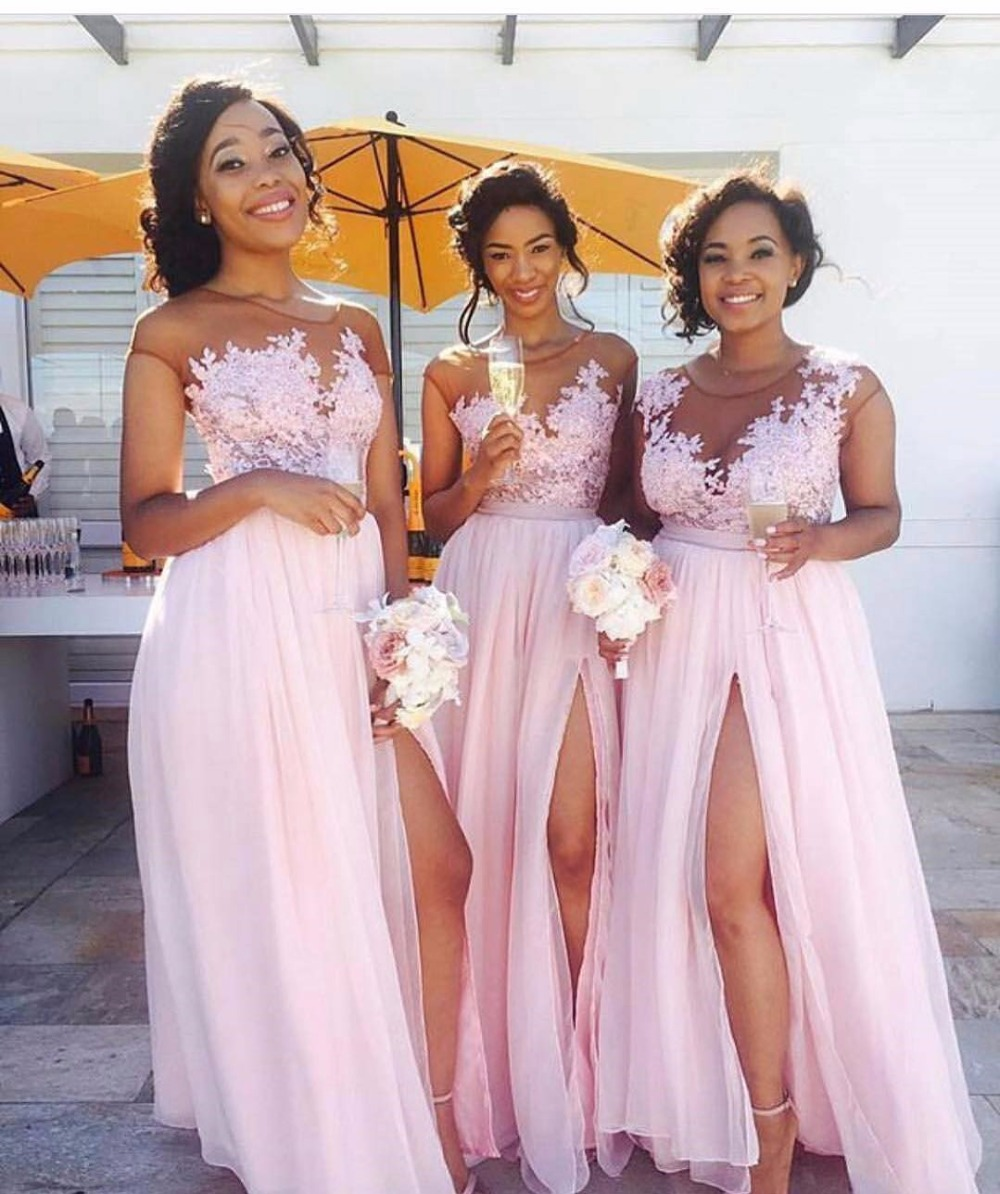 Online get cheap short dama in pink aliexpress alibaba group vestido dama de honra elegant cheap bridesmaid dresses blush pink lace a line chiffon bridesmaid dress ombrellifo Images