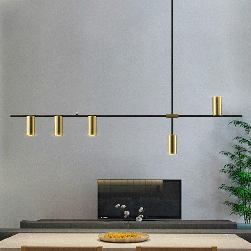 Design luxueux salle à manger longue lustre lumières minimaliste moderne noir Lustres Pendentes lampes nordiques salle à manger lumières