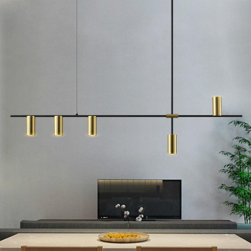 Luxurious Designer Dining Long Chandelier Lights Minimalist Modern Black Lustres Pendentes  Nordic Lamps Dinning Room Lights