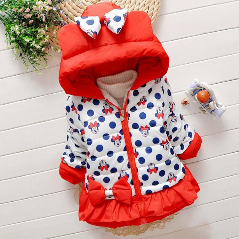 New 2017 Spring & Winter Children Minnie Hoodies Jacket & Coat Baby Girls Clothes Kids Toddle Outerwear Warm Coat3-6Y