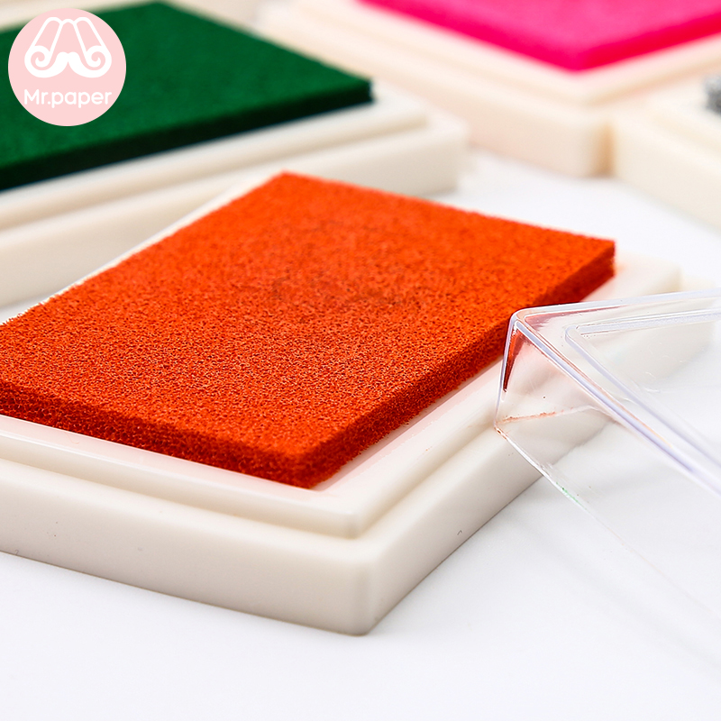 Mr Paper 15 Colors Inkpad Handmade DIY Craft Oil Based Ink Pad for Fabric Wood Paper Scrapbooking Ink pad Finger Painting 4
