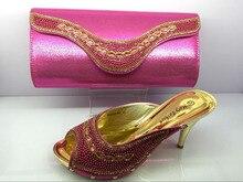 ออกแบบอิตาลีสุภาพสตรีจับคู่รองเท้าและกระเป๋า, Rhinestoneรองเท้าแอฟริกันและชุดกระเป๋าสำหรับในผู้หญิงปั๊มในMF094สีแดงม่วง