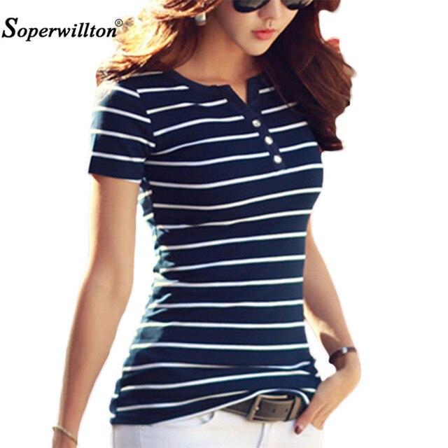 T Shirt Women 2018 Summer Top Shirts V-neck Short Sleeve Casual tshirts White Strip T-Shirt  Plus Size Cotton Tee Shirt Femme