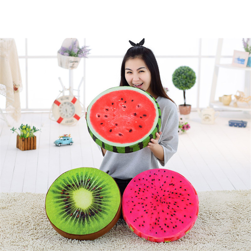 Fruits Plush Toys Simulation Creative 3D Fruit Cushion Round Stuffed Soft Boys Girls Anti Stress Nap Pillow For Kid Children