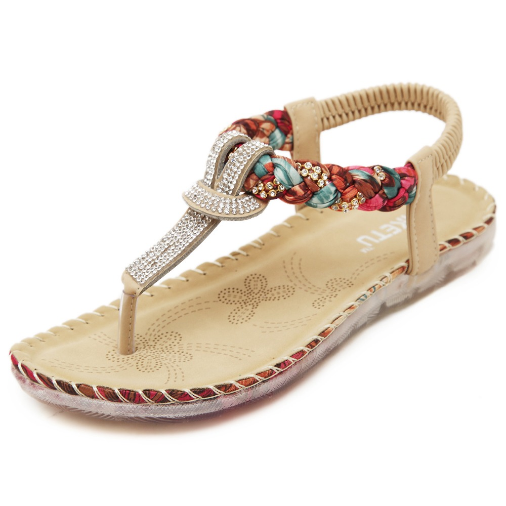 Fashion women summer Bohemia flip flops sandals with crystal soft  Wedges casual all match Large size ladies flat sandals all summer long