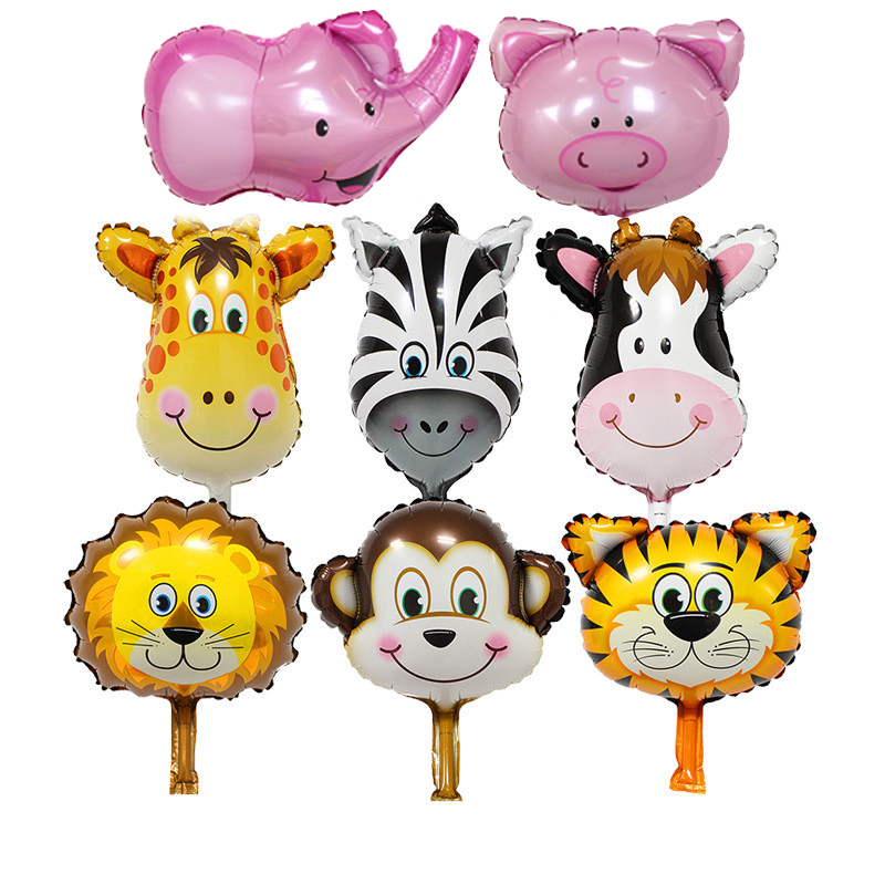 Lucky 2pcs Mini Animal Head Helium Foil Balloons For Birthday Party Decoration Supplies Toys Gifts Celebration Cartoon Balloon