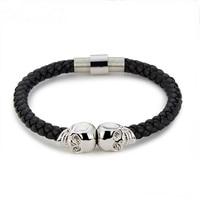 Northskull Stainless Steel Twin Skull Bracelets Bangles For Man Women 6mm Genuine Braided Leather Bracelet Jewelry