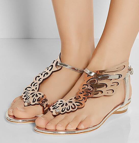 Nuevo rosa/Negro brillo Ángel ala Sandalias planas espejo cuero gladiador Tanga sandalias Bling cristal Chanclas Mujer Zapatos