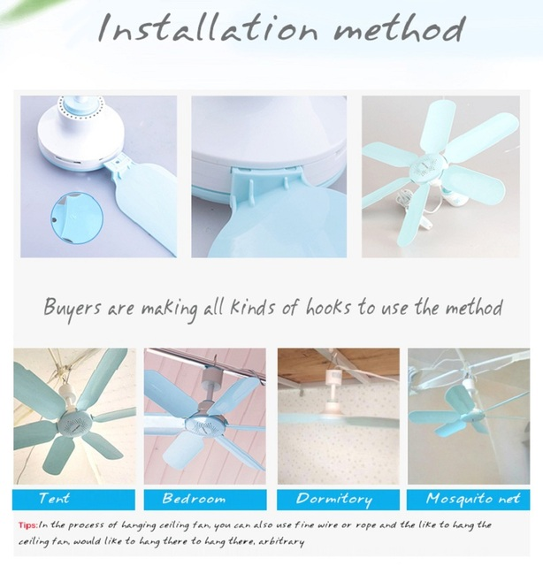 AUX Mini Household Mute Ceiling Fan 220V 7W Energy Saving Fan ABS 6 blades Sleep/Natural Wind Home Student Dorm Use Blue FC-16A1 1