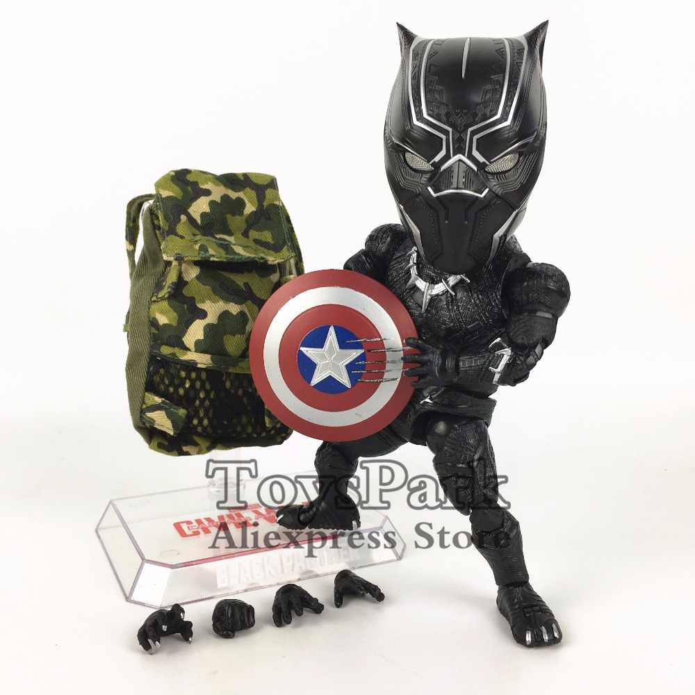 ToysPark Marvel Beast Kingdom Black Panther Cute Q 18cm Action Figure Egg  Attack EAA 033 Captain America Civil War Doll Toy Gift