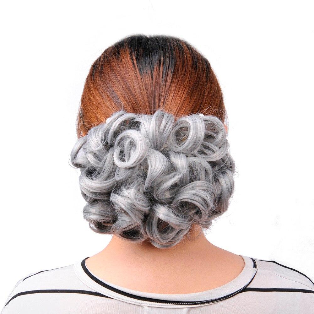 OUBECA Kvinnors Grå Curly Chignon Elastic Gummi Band Combs Klipp I - Syntetiskt hår - Foto 4