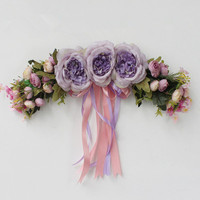Purple Peony Artificial Silk Flowers Tea Rose Wreaths Mirror Flowers Door Lintel Flower Vine Party