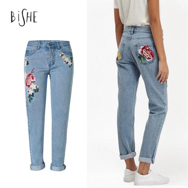 Джинсы с вышивкой MOM Jeans Pantalon роковой цветок джинсы женские бойфренд для женщин отбеленные дамы брюки