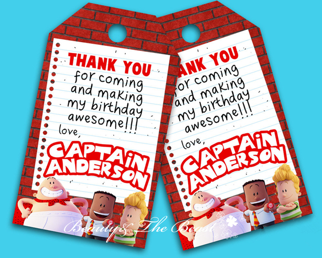 Personalized Captain Underpants Gift Favor Tags Thank You TagsBirthday Party Decorations Kids
