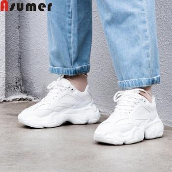 f19fd8b0a31 ASUMER talla grande 35-42 moda Primavera otoño nuevos zapatos mujer punta  redonda cordones zapatos de cuero genuino Casual pisos mujeres zapatillas  de ...
