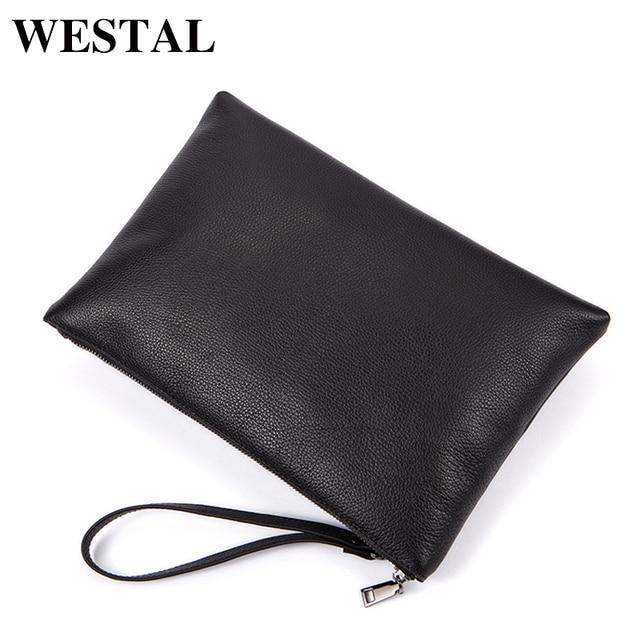 27948d500e46 WESTAL мужской кожаный конверт клатч мужской большой натуральная кожа  однотонный черный модный большой мужской конверт клатч