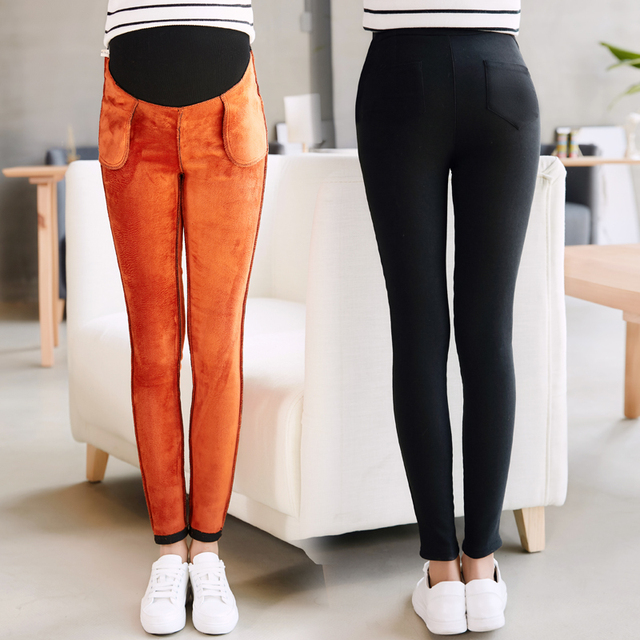 eaf79e7d3b4 Winter Velvet Plus Pregnant Pants Casual High Waist Stretchy Maternity  Skinny Ankle Trousers Slim for Women pregnancy clothes