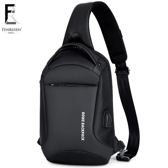 FRN Men Single Shoulder Messenger Bag Oxford USB Charging Waterproof High Capacity Chest Sling Bag Travel Crossbody Bag 2019 New