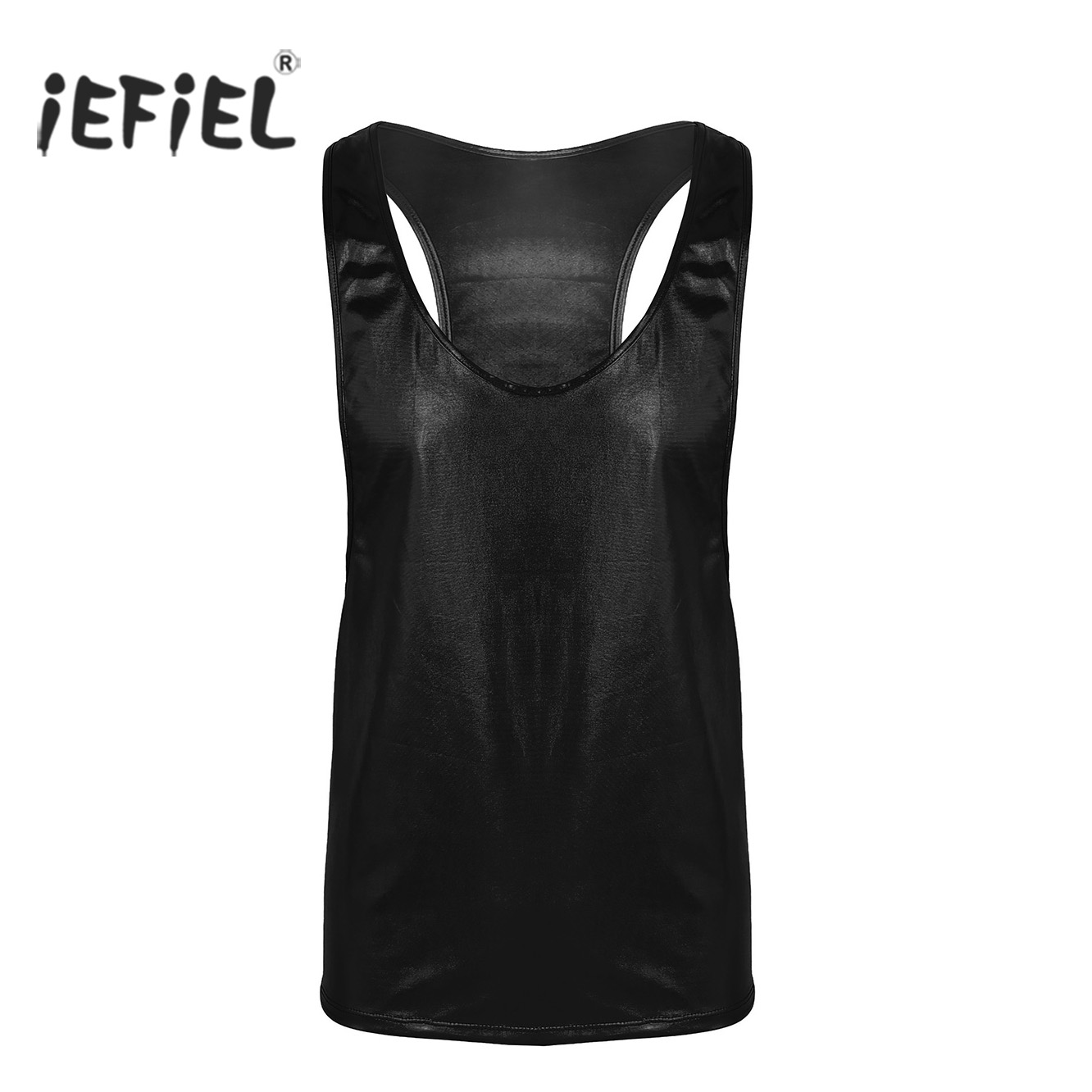 Mens Shiny Faux Leather Nightclub Style Sleeveless Pullover Muscle Cut Vest   Tank     Tops   Undershirts Sexy Clubwear for Performance