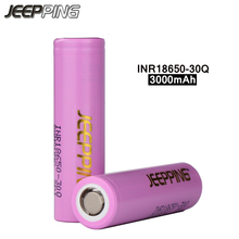 JEEPPING 2pcs 100% original 18650 Rechargeable Battery 3.7V 3000mAh INR18650 30Q li-ion electronic cigarette battery for SamSung