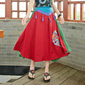 Vintage New Fashion Summer Big Swing Cotton Linen Tassel High Waist Embroidery Casual Shirt 2016 Women