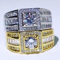 2018 Новое поступление 2 Цвет Обручение кольцо для Для мужчин сверкающими Модные украшения 10KT белый и Gold Filled Ясно CZ кольца для мужчин подарок