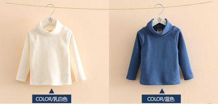2018 Spring Autumn 2-10T Years Children'S Candy Color Sweet Long Sleeve High Neck Unisex Kids Girl Boy Basic Turtleneck T-Shirt (10)