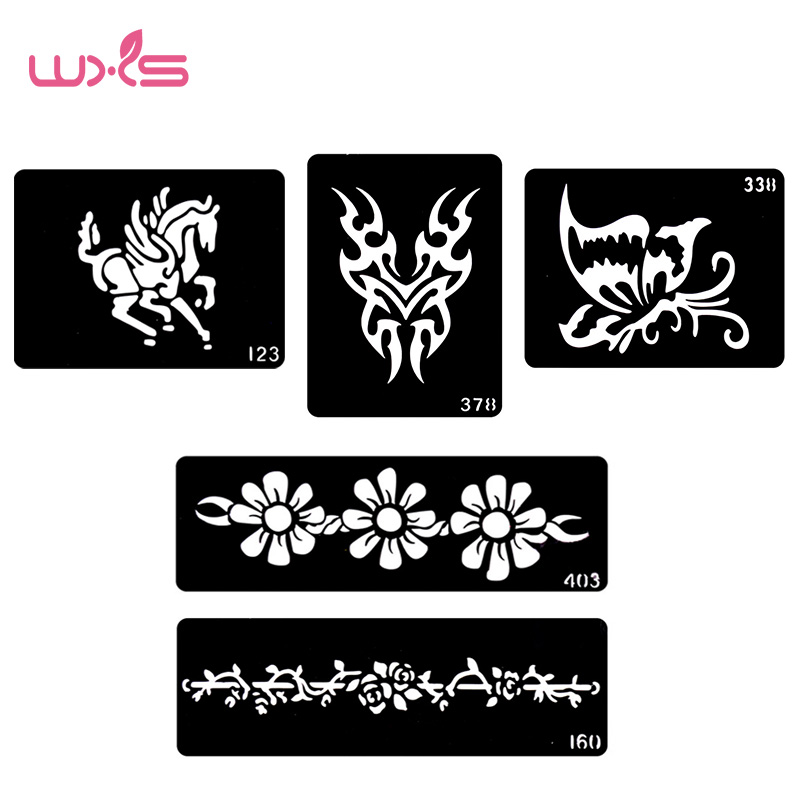 WXS 5 st Tattoo Mall Stencil Fashion Design Hals Tatueringar Design Henna Tattoo Stencils Temporaire Glitter Tatouage TS-02