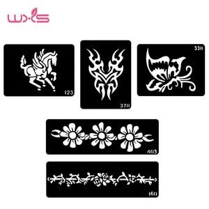 WXS 5 pcs Tattoo Template Stencil Fashion Design Neck Tattoos Designs Henna Tattoo Stencils Temporaire Glitter Tatouage TS-02